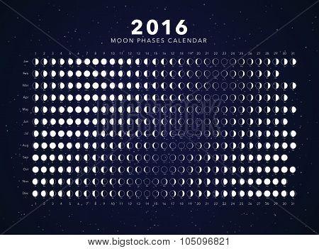 2016 moon phases calendar vector