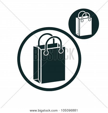 Shopping Bag Vector Simple Single Color Icon Isolated On White Background