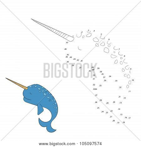 Connect the dots game narwhal vector illustration