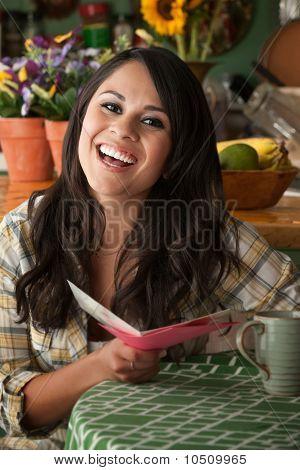 Beautiful Latina Woman With Funny Card