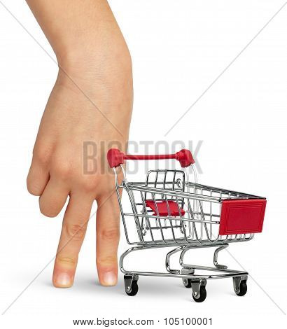 Shopper Concept, Hand With Shopping Cart On White