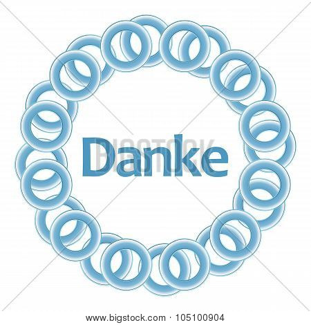 Danke Text Inside Blue Rings Circular