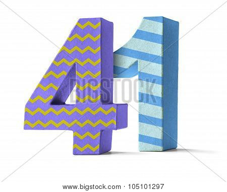 Colorful Paper Mache Number On A White Background  - Number 41
