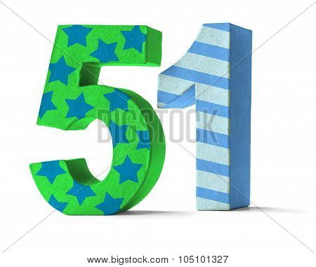 Colorful Paper Mache Number On A White Background  - Number 51