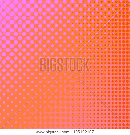 Dots on Pink Background. Halftone Texture