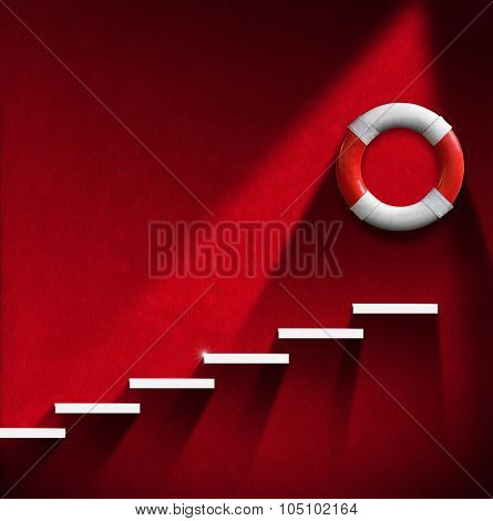 Help Concept - Staircase And Lifebuoy