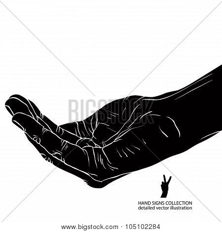 Begging Hand, Detailed Black And White Vector Illustration.