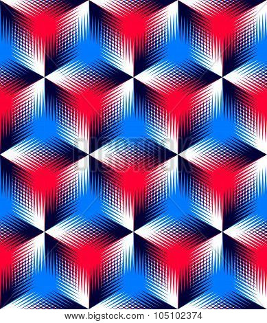 Colored Abstract Interweave Geometric Seamless Pattern, Eps10. Bright Illusory Backdrop