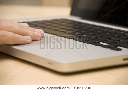 notebook with hand