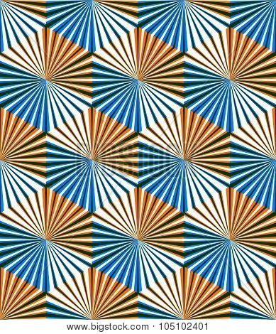 Vector Seamless Optical Ornamental Pattern With Three-dimensional Geometric Figures. Intertwine