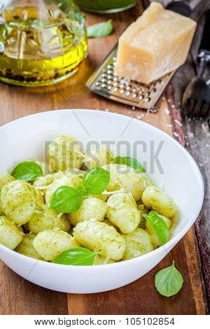 Homemade Gnocchi With Pesto Sauce, Parmesan And Basil