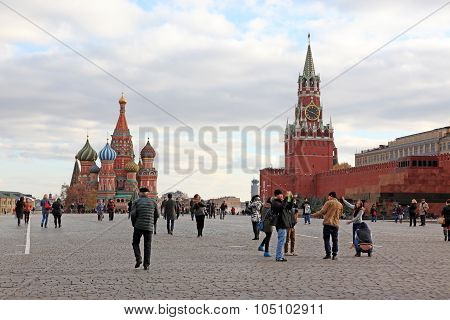 Moscow - Oct 22: People At Red Square With Saint Basil Cathedral, Spasskaya Tower, Lenin's Mausoleum