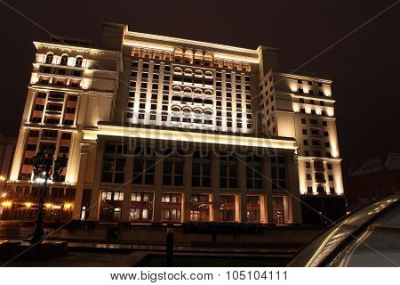 Night View Of The Eastern Facade Of The Old Hotel Moskva From Manege Square, Moscow, Russia