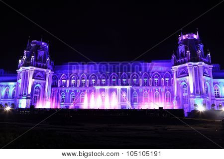 Night View Of The Palace Tsaritsyno History Museum In Moscow, Russia