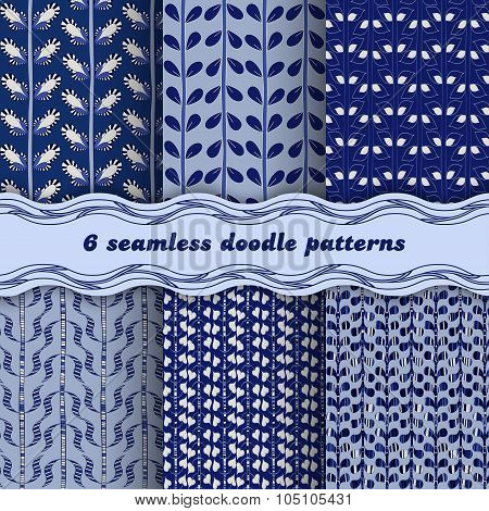 Set Vegetable Ornaments In Blue Tones. Seamless Patterns.