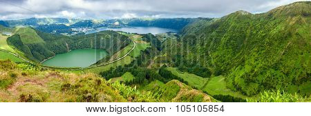 Lakes Of Sete Cidades And Santiagot In Sao Miguel, Azores