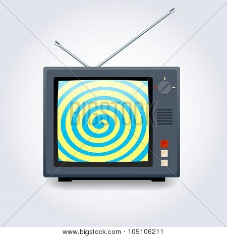TV set with a hypnotic spiral on the screen