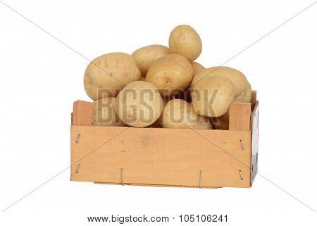 new potatoes in wood box