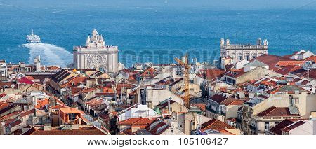 Aerial View Of Rossio In Lisbon, Portugal