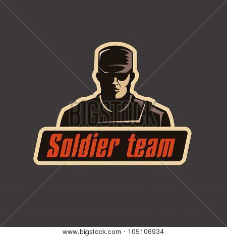 Soldier team logo template. Serious man in bulletproof vest and cap on dark background.
