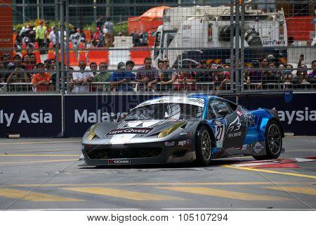 KUALA LUMPUR, MALAYSIA - AUGUST 08, 2015: Adrian D'Silva drives a Lamborghini Huracan LP620 car races in the KL City GT CUP Race, at the 2015 Kuala Lumpur City Grand Prix.