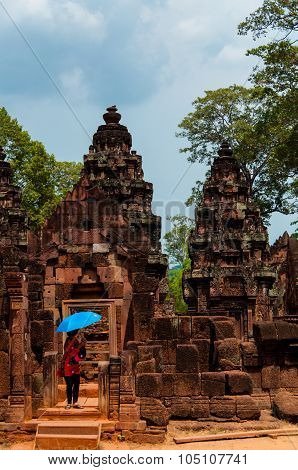 Asian Woman with umbreall at Banteay Srei