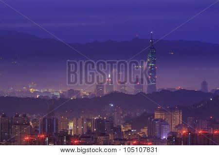The Taipei Basin With The Famous 101 Builiding Before Sunrise Time