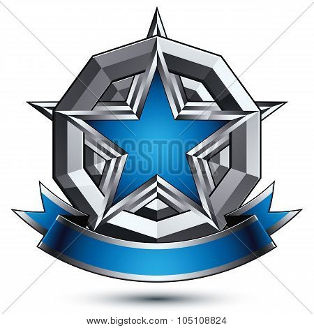 Vector Glorious Glossy Design Element, Luxury Blue 3D Star With Silver Outline, Conceptual Graphic R