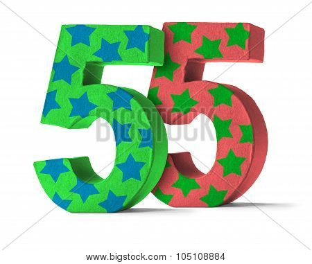 Colorful Paper Mache Number On A White Background  - Number 55