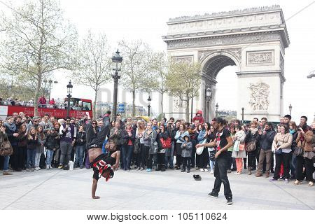 Paris - April 27:: B-boy Doing Some Breakdance Moves In Front A