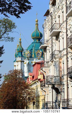 St Andrew's Church domes at autumn, Kiev, Ukraine
