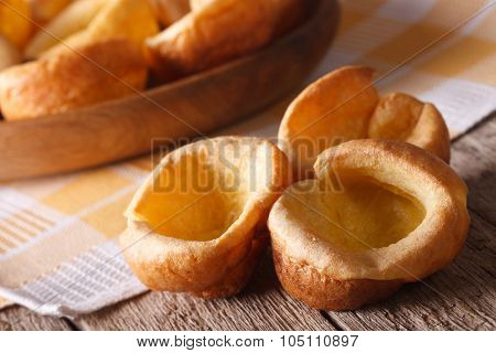 English Food: Homemade Yorkshire Pudding Close Up. Horizontal
