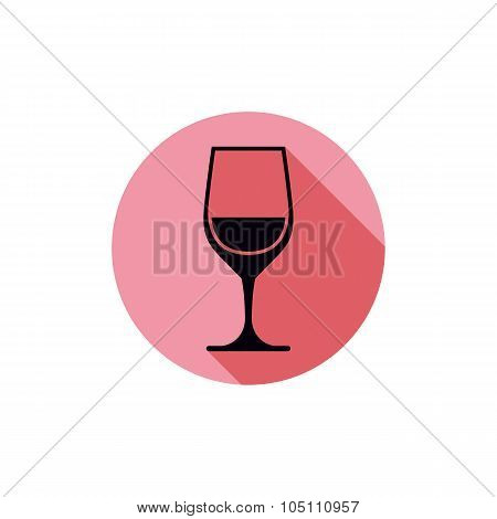 Vector Sophisticated Wine Goblet, Stylish Alcohol Theme Illustration. Classic Wineglass, Romantic Re