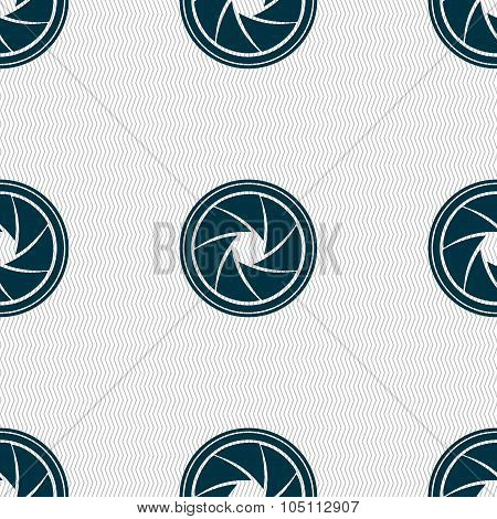 Diaphragm Icon. Aperture Sign. Seamless Abstract Background With Geometric Shapes. Vector