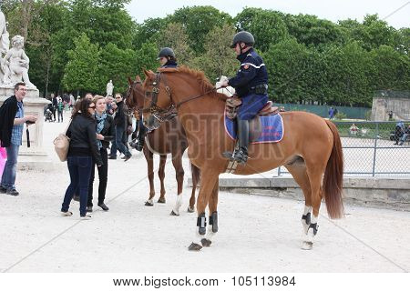 Paris - April 24: Policman In The Famous Tuileries Gard