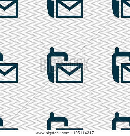 Mail Icon. Envelope Symbol. Message Sms Sign. Seamless Abstract Background With Geometric Shapes. Ve