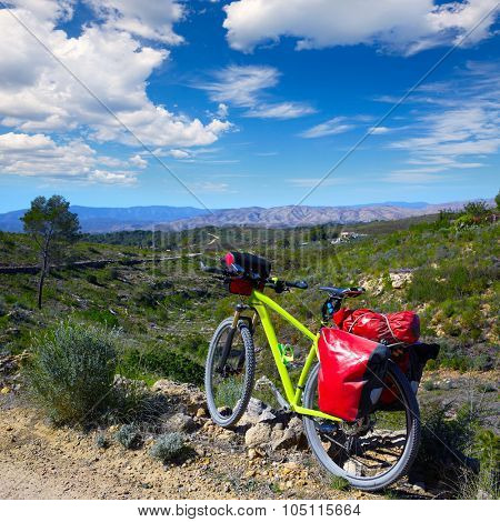 cycling tourism MTB bike in Pedralba Villamarxant Valencia with panniers and saddlebag
