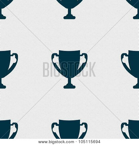Winner Cup Sign Icon. Awarding Of Winners Symbol. Trophy. Seamless Abstract Background With Geometri