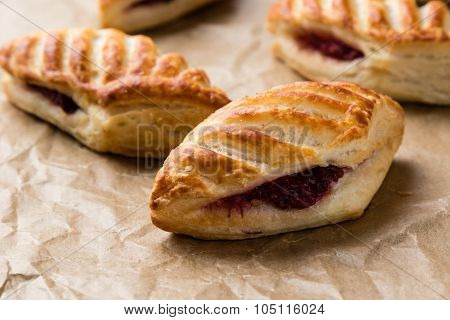 Puff Pastry With Jam On Paper