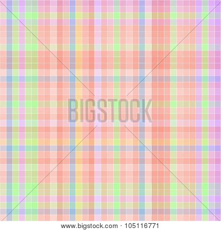Vector Pattern With Checkered Texture. Abstract Backdrop. Geometrical Background.  Orange And Green
