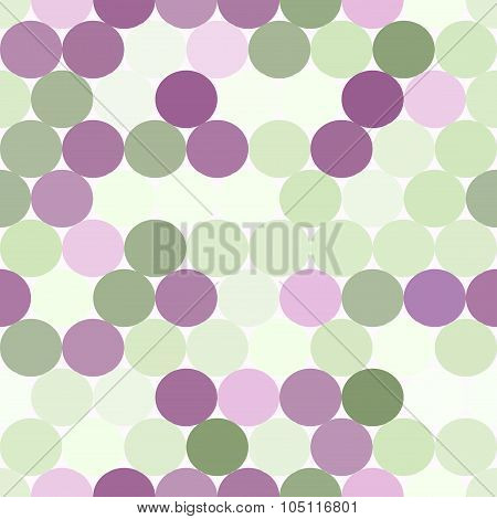 Pale Green And Purple Vector Seamless Pattern With Circles.  Abstract Geometrical Background.