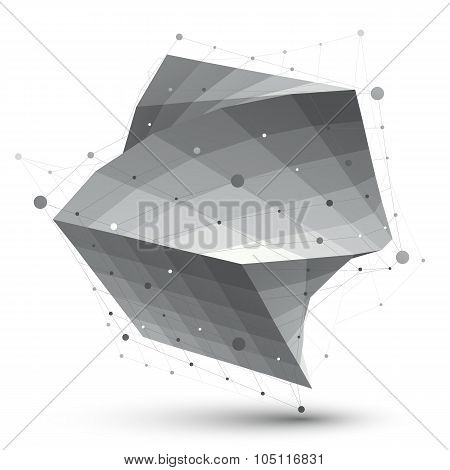 Abstract 3D Structure Polygonal Vector Network Object, Grayscale Art Deformed Figure.