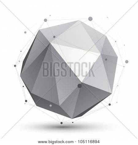 Spatial Vector Monochrome Digital Eps8 Object, Dimensional Technology Element With Wireframe, Spheri