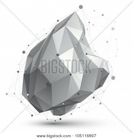 Contemporary Distorted Black And White Stylish Construction, Vector Abstract Dimensional Figure With