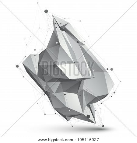 Spatial Technological Shape, Vector Polygonal Single Color Eps8 Wireframe Object.