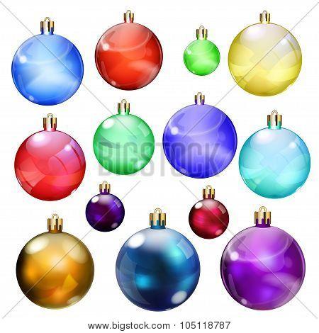 Set Of Opaque Christmas Balls