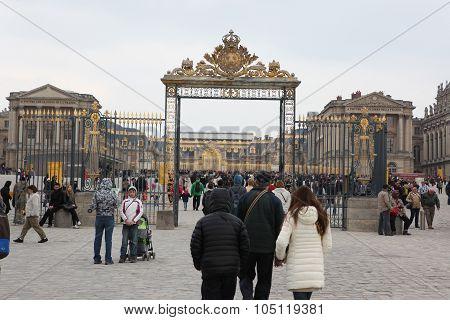 Paris - April 28: Visitors Go To Versailles Palace April, 28, 2013. The Versailles Palace Has Been O