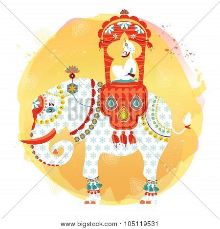 Decorated Indian Elephant With Maharaja On A Back.