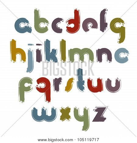 Vector Painted Alphabet Letters Set, Hand-drawn Colorful Script, Bright Brushed Small Letters.