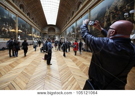 Paris - April 28. Visitors On Queue For Versailles Palace April, 28, 2013. The Versailles Palace Has